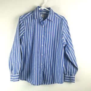 Talbots Womans Blue Wrinkle Resistant Blouse 8